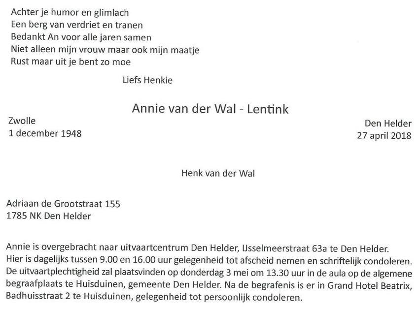 Pv Den Helder An Vd Wal Overleden